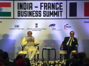 Prime Minister Narendra Modi and French President Francois Hollande during the India-France Business Summit in Chandigarh